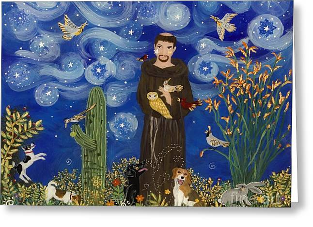 Sue Greeting Cards - St. Francis Starry Night Greeting Card by Sue Betanzos