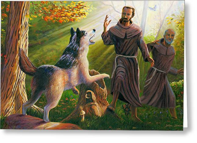 Tame Greeting Cards - St. Francis Taming the Wolf Greeting Card by Steve Simon