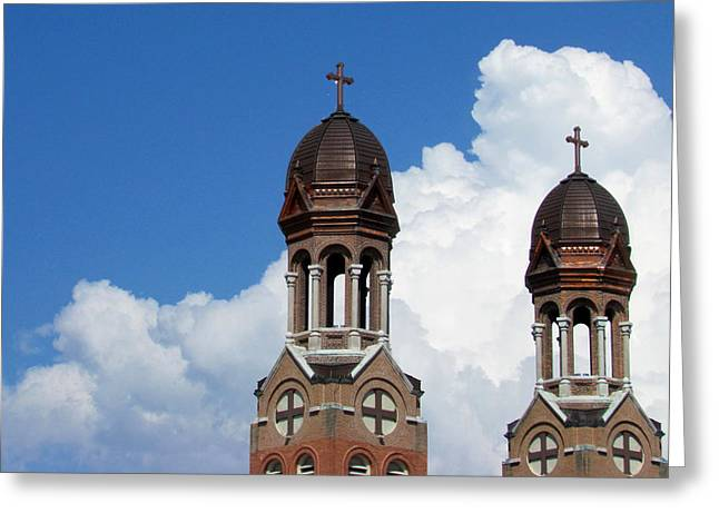 Francis Greeting Cards - St Francis Xavier Cathedral Spires Greeting Card by David T Wilkinson