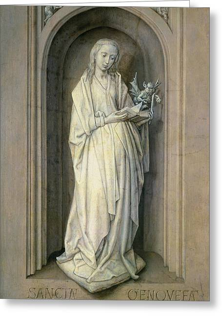 St. Genevieve D.c.500, C.1479 Panel Greeting Card by Hugo van der Goes