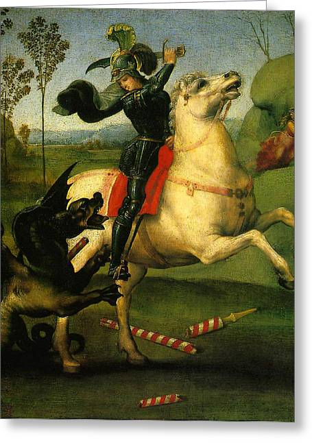St. Raphael Greeting Cards - St George and Dragon Reproduction Art Work Greeting Card by Raphael