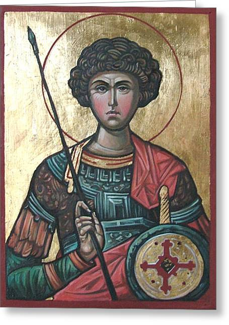Icon Byzantine Greeting Cards - St. George Greeting Card by Filip Mihail