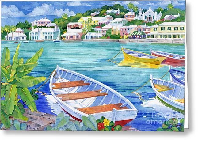 Yellow Sailboats Greeting Cards - St George Harbor Greeting Card by Paul Brent