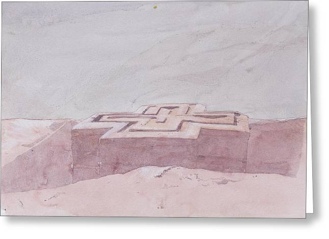 Ethiopian Greeting Cards - St. George, Lalibela Wc On Paper Greeting Card by Charlie Millar