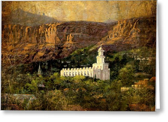 St. George Temple Greeting Cards - St. George Temple Red Hills Antique Greeting Card by Marcia Johnson
