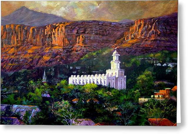 St. George Temple Greeting Cards - St. George Temple Red Hills Greeting Card by Marcia Johnson