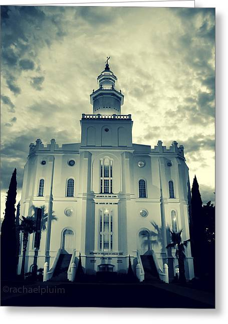 St. George Temple Greeting Cards - St. George LDS Temple Tint Greeting Card by Rachael Pluim