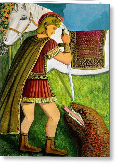 Pious Paintings Greeting Cards - St. George Greeting Card by Thecla Correya