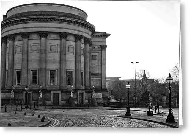Theater Greeting Cards - St Georges Hall In Liverpool Black and White Greeting Card by Nomad Art And  Design