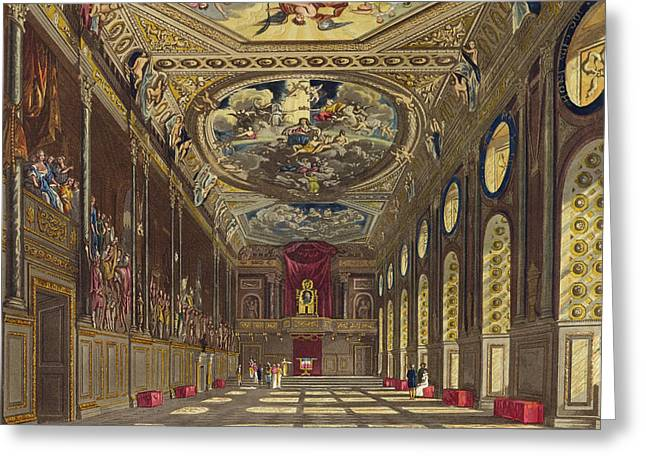 Window Interior Greeting Cards - St. Georges Hall, Windsor Castle Greeting Card by Charles Wild