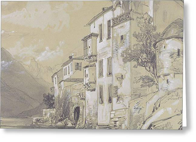 Italian Landscapes Drawings Greeting Cards - St Giulio Orta Greeting Card by Edward Lear