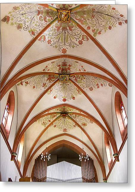 Pipe Organ Greeting Cards - St Goar organ and ceiling Greeting Card by Jenny Setchell