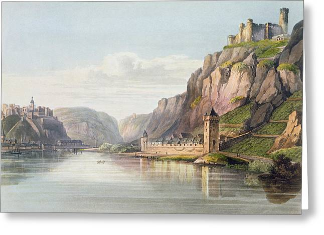 Fort River Greeting Cards - St. Goarshausen, St. Goar Greeting Card by Christian Georg II Schutz or Schuz