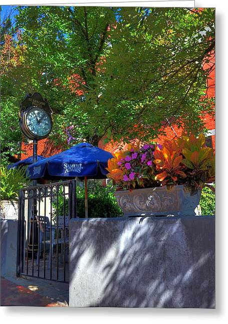 Blue Umbrella Greeting Cards - St Gregory Plaza Greeting Card by Mel Steinhauer
