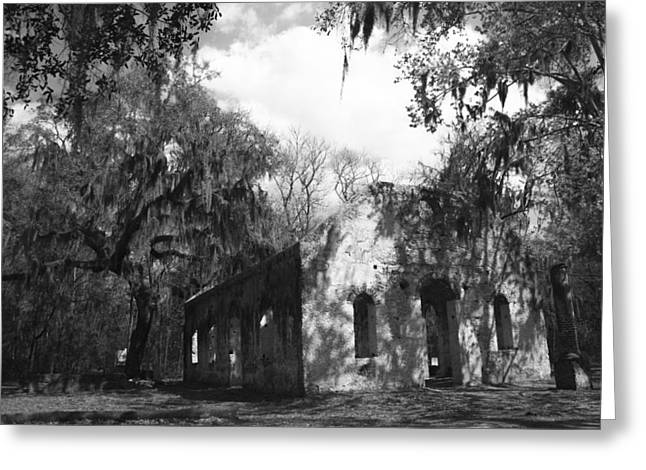 Ladys Island Greeting Cards - St Helena Chapel of Ease BW 2 Greeting Card by Steven  Taylor