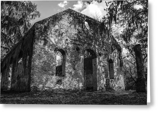 Ladys Island Greeting Cards - St Helena Chapel of Ease  BW 3 Greeting Card by Steven  Taylor