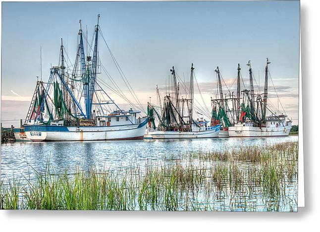 Scott Hansen Greeting Cards - St. Helena Island Shrimp Boats Greeting Card by Scott Hansen