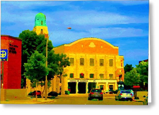 ST HENRI CITY HALL POSTE DE POLICE ET CASERNE DE POMPIERS MONTREAL CITY SCENE ART OF CAROLE SPANDAU Greeting Card by CAROLE SPANDAU