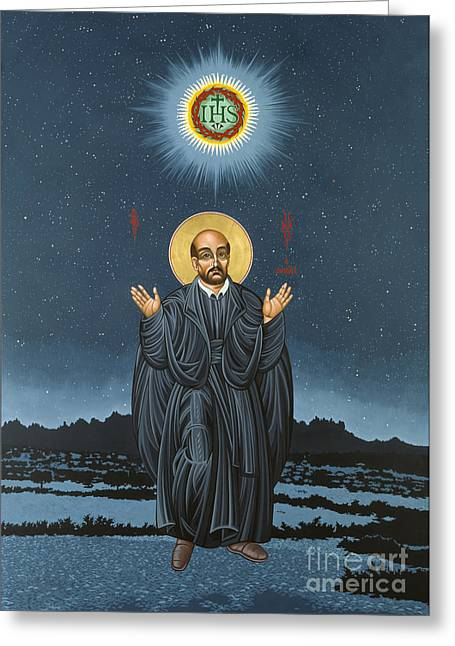 Williams Greeting Cards - St. Ignatius in Prayer Beneath the Stars Greeting Card by William Hart McNichols