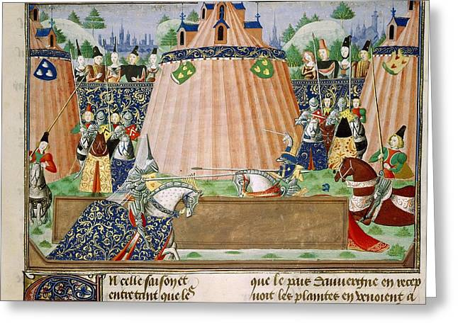 Knighthood Greeting Cards - St Inglevert Jousting Tournament, 1390 Greeting Card by British Library
