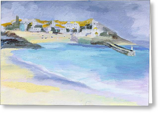 155 Greeting Cards - St. Ives, Cornwall, 2005 Acrylic On Board Greeting Card by Sophia Elliot
