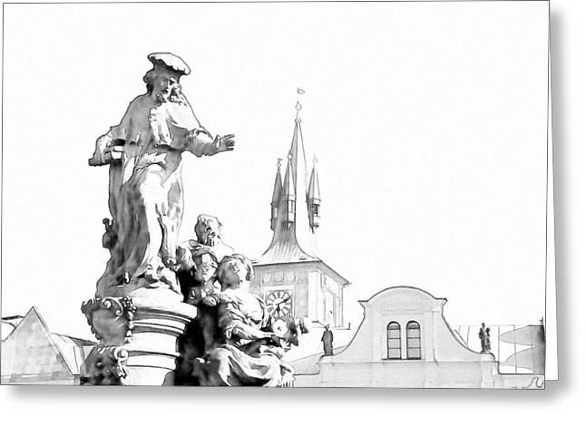 St Charles Bridge Greeting Cards - St. Ivo Statue on the Charles Bridge. Prague Greeting Card by Jenny Rainbow