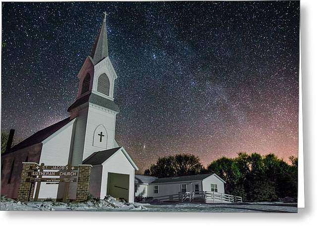 Light Pollution Greeting Cards - St. Jacobs Greeting Card by Aaron J Groen