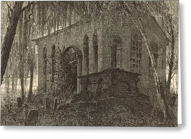 Charleston Drawings Greeting Cards - St. James Church or Goose Creek Church and Cemetery 1872 Engraving Greeting Card by Antique Engravings
