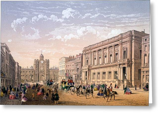 Conservative Greeting Cards - St James Palace And Conservative Club Greeting Card by Achille-Louis Martinet