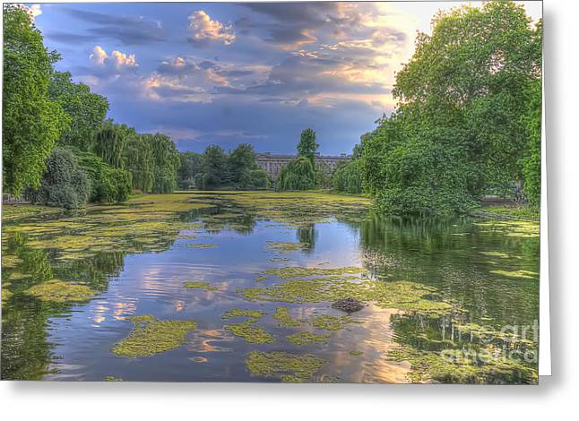 Buckingham Palace Digital Greeting Cards - St James Park  Greeting Card by Darren Wilkes