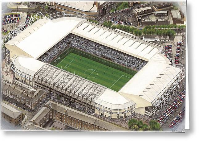 League Paintings Greeting Cards - St James Park - Newcastle United Greeting Card by Kevin Fletcher