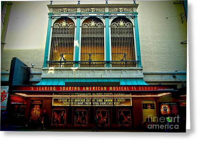 Glass Wall Greeting Cards - St. James Theatre Balcony Greeting Card by James Aiken