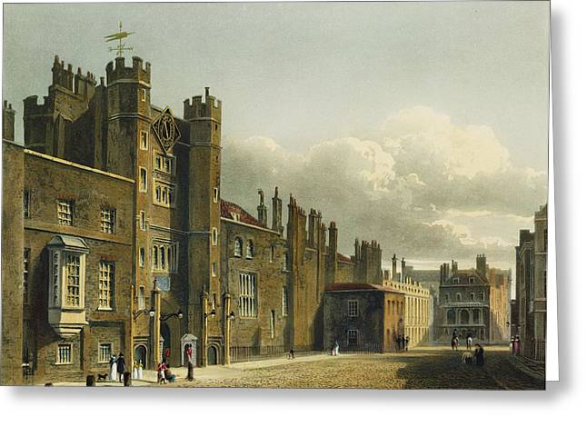 Facades Drawings Greeting Cards - St. Jamess Palace, From The History Greeting Card by Charles Wild