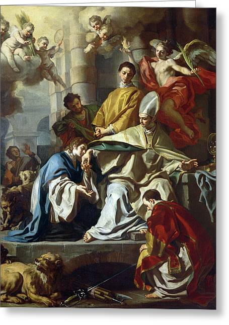 Martyr Greeting Cards - St. Januarius Visited In Prison By Proculus And Sosius Greeting Card by Francesco Solimena