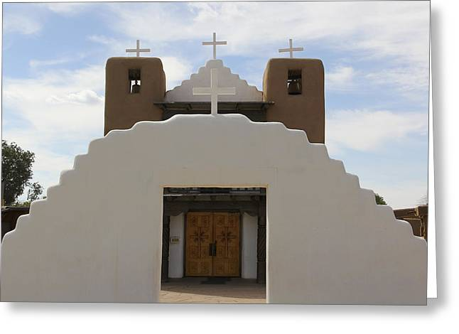 Taos Greeting Cards - St. Jerome Chapel - Taos Pueblo Greeting Card by Mike McGlothlen