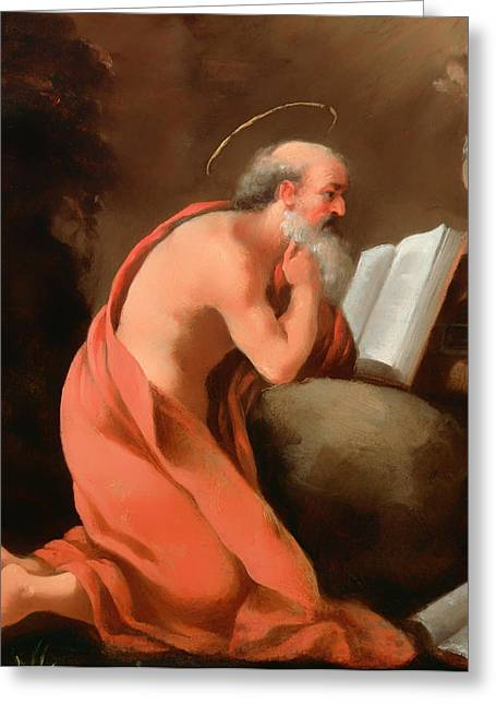 Religious work Paintings Greeting Cards - St Jerome in Penitence Greeting Card by Emilian School