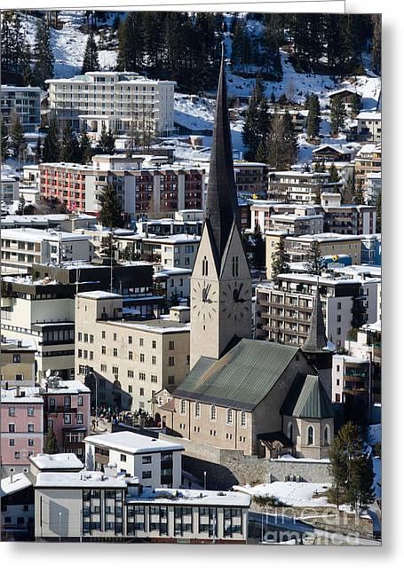 St Johann Davos Church St John Town Greeting Card by Andy Smy