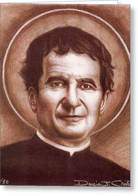Photorealism Drawings Greeting Cards - St. John Bosco Greeting Card by Darcie Cristello