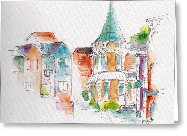 Sienna Greeting Cards - St John Harbor Hill Greeting Card by Pat Katz