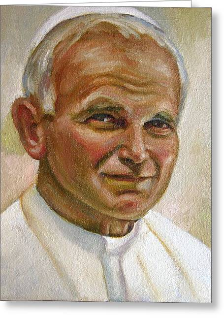 Charlotte Paintings Greeting Cards - St. John Paul II Greeting Card by Brian Coyne