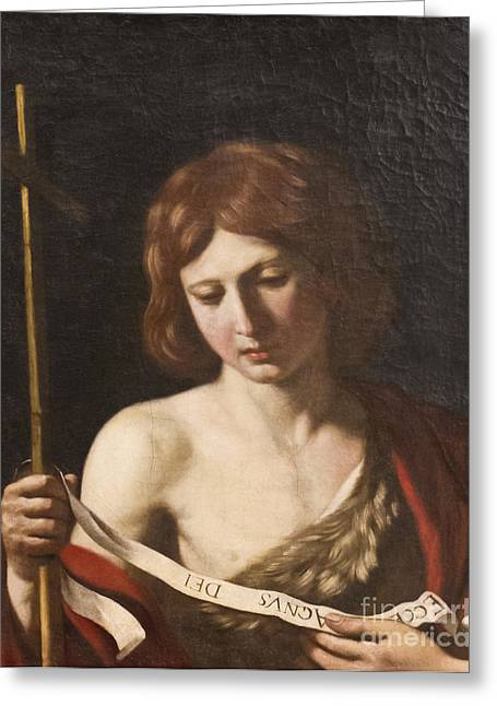 Giovanni Francesco Barbieri Greeting Cards - St John the Baptist by Guercino Greeting Card by Roberto Morgenthaler