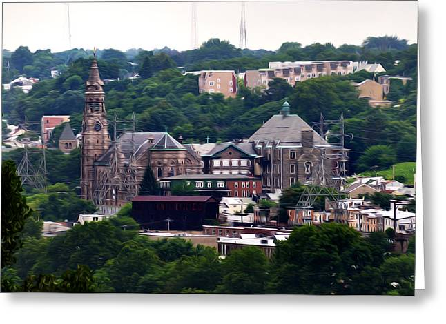 St John The Baptist Greeting Cards - St John the Baptist Church Manayunk Philadelphia Greeting Card by Bill Cannon