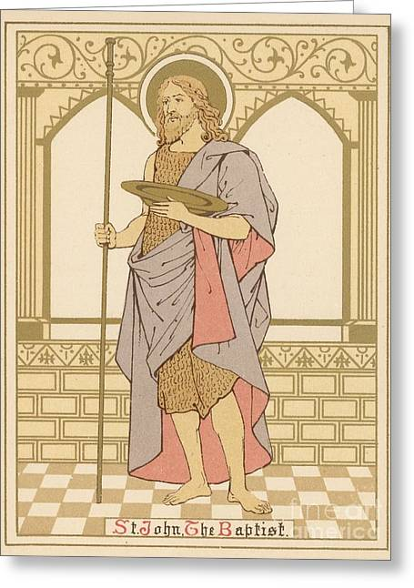 St John The Baptist Greeting Cards - St John the Baptist Greeting Card by English School