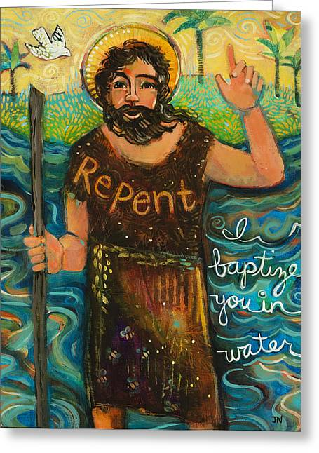 Religious Art Paintings Greeting Cards - St. John the Baptist Greeting Card by Jen Norton