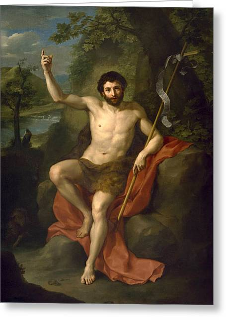 St. Raphael Greeting Cards - St John the Baptist Preaching in the Wilderness Greeting Card by Anton Raphael Mengs