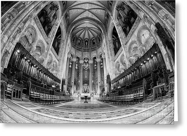 The Vault Digital Greeting Cards - St John the Divine Sanctuary bw Greeting Card by Jerry Fornarotto