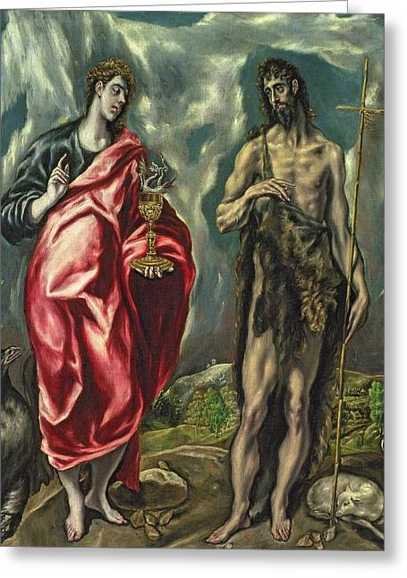 St John The Baptist Greeting Cards - St John the Evangelist and St John the Baptist Greeting Card by El Greco Domenico Theotocopuli