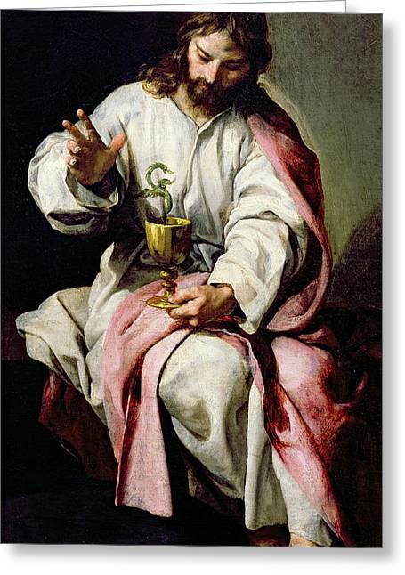 Transformations Paintings Greeting Cards - St. John the Evangelist and the Poisoned Cup Greeting Card by Alonso Cano