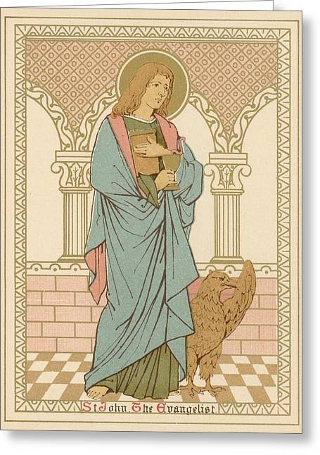Lithograph Drawings Greeting Cards - St John the Evangelist Greeting Card by English School