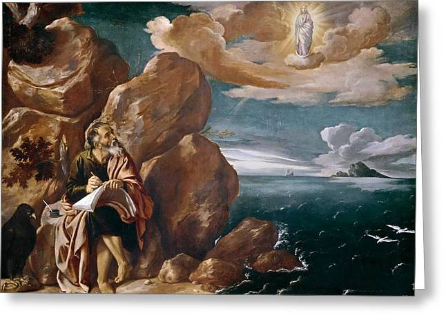 John The Evangelist Greeting Cards - St John the Evangelist on Patmos Greeting Card by Pedro Orrente